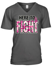 Here To Fight Breast Cancer Pink Camouflage Inspirational Mens V-neck T-shirt