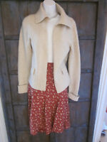 Theory Womens Size L Cashmere Wool Beige Knit Cardigan Sweater Open Front Soft