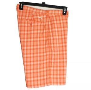 "Ping Sensor Cool Men's Size 36 Orange and White Plaid Golf Shorts 10"" Inseam"