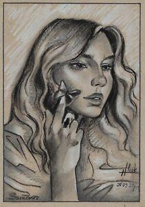 original drawing 14.5 x 20,5 cm 308LN art samovar Pastel female portrait Signed