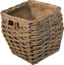 The Barkway - Large Square Hessian Jute Lined Rattan Wicker Basket - FIR229