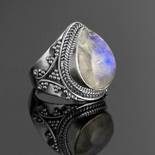 Pear Cut 925 Sterling Silver Ladies Moonstone Designer Ring Big Gemstone Boxed
