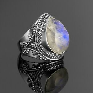 Pear Cut 925 Sterling Silver Ladies Moonstone Designer Ring Big Gemstone Boxed