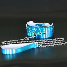 Holographic Punk Laser Leather Choker Collar with Leash Chain Belt BDSM Necklace