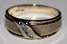 Mens 10k Channel Set Diamond Ring ~ Sz 10.5 ~ Wedding ~ Love Story