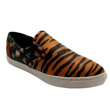 Coach 6 Shoes Womens Tiger Print Slip On Leather Loafer Floral Pointy Toe NEW