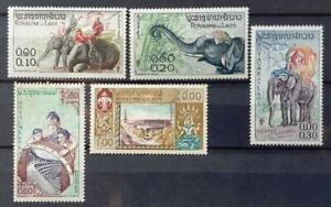 LAOS - 1958, 1958 - Elephants - Lot of 5 USED stamps