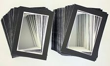 Set of 200 5x7 BLACK Picture Mats Mattes with WHITE Core Bevel Cut for 4x6 Photo
