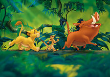 Paper wallpaper 254x184cm Lion King Disney wall mural for kids room Green