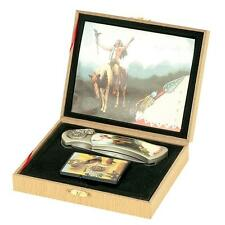 INDIAN RIDING HORSE BOXED KNIFE WITH FLIP TOP OIL LIGHTER stainless steel pocket