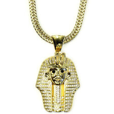 18k Gold Plated King Tut Pharaoh CZ Pendant and 2.4mm Flat Franco Chain 30 inch
