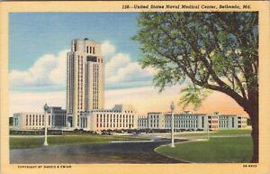 Linen postcard, United States Naval Medical Center, Bethesda, MD