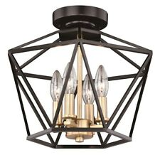 Vaxcel Turin 14.5' Semi-Flush Mount, Noble Bronze with Natural Brass - C0174