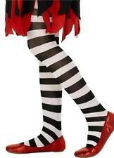 GIRLS STRIPED TIGHTS FANCY DRESS COSTUME THE WITCHES STRIPY ORANGE PURPLE BLACK
