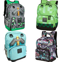 Minecraft Creeper Backpack kids Green /Gray/Blue  Boys School Shoulder Bag Hot