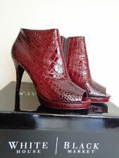 White House Black Market Paulette Stiletto Croc Shoes Maroon Red Heels Red 7.5