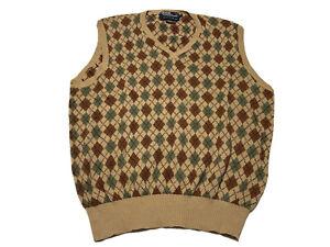 Polo Ralph Lauren Mens Size XL Sweater Vest Argyle Diamond Design Brown Vintage