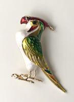 Unique Parrot Bird  Brooch Pin enamel on gold tone metal