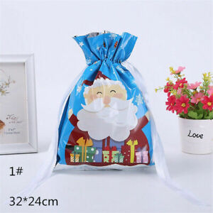 Drawstring Christmas Gift Bag Party Candy Bags Cookie Gifts Wrapping Pouch Us