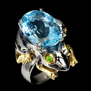Handmade 15ct Sky Blue Topaz Diopside 925 Silver Frog Ring Size 7.5 Special Item