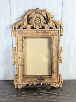 Stunning Vtg Antique Hand Carved Wood Picture Frame For 5x7 ornate Flowers