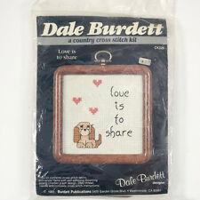 Vintage Dale Burdett Cross Stitch Kit Love is to Share Kit NIP Valentine Frame