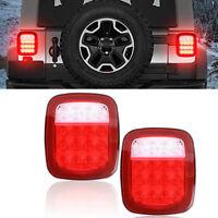2Pcs Square Stop Turn Tail Backup 16LED Light Kits for Wrangler JK/TJ/CJ/YJ CHY