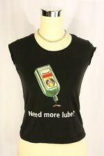 Jagermeister Bottle Need More Lube Cap Sleeve Black T-shirt Top - Sm SEXY