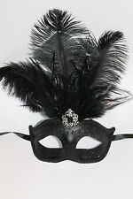 MIDNIGHT BLACK FEATHER MASK VENETIAN MASQUERADE BALL CARNIVAL PARTY EYE MASK