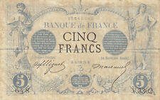 RARE Billet 5 F Noir du 15-1-1874 FAY 1.25 Alph. V.3302 DERNIER MOIS D'EMISSION