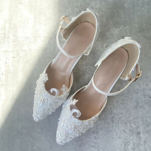Women Fashion heels lace wedding bride shoes Pointed Toe braidmaids Party shoes