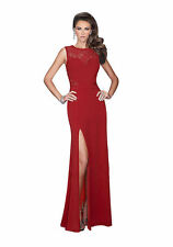 Red Long Split Prom Patchwork Party Maxi Evening Dress