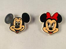 2 Pinback Pins Plastic Buttons Walt Disney Mickey Minnie Mouse Monogram Prod