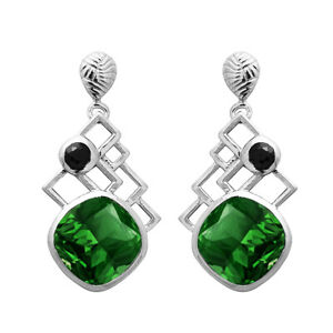 Classic Handmade Green Cz 925 Sterling Silver Valentine's Earring Jewelry