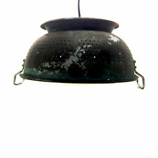 Copper Country Colander PENDANT LAMP Primitive Black Kitchen Ceiling Light $495