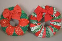 Wreath Vintage Patchwork Hand Made Christmas Hanging Decor Fabric Country Farm
