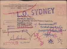 1957 Gb University of London Union Dlo Dead Letter Office to Nsw Australia