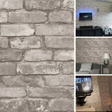 NEW DIY Interior Rustic Grey Brick Wall Effect Wallpaper Cover Realistic Bedroom