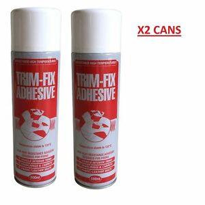 x2 Trim Fix 500ml High Temperature Adhesive Spray Carpet Glue Cars Van Lining