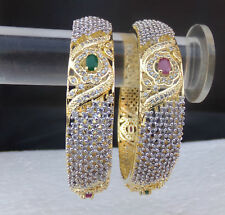 Ethnic Simulated Cubic Diamond Ruby Bangles Indian Fashion Jewelry Bracelet Set