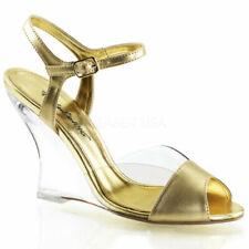 35 Scarpe da donna zeppe di oro