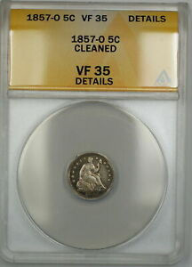 1857-O Seated Silver Half Dime 5c Coin ANACS VF-35 Details Cleaned PRX