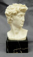 A. Santini Statue of David Alabaster Bust Signed Italy Sculpture B1784