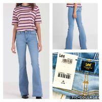 LEE BNWT Womens Chaffee Skinny Flare Light Blue Jeans W27 L31 UK 8 Rrp £80 (S1)