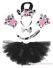 3D Milk Cow Headband Bow Tail Paw Gauze Skirt 5p Kids Child School Party Costume