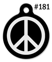 Pet Tags for Dogs & Cats | Personalized Custom Cute ID Tag | BW Peace Sign #181
