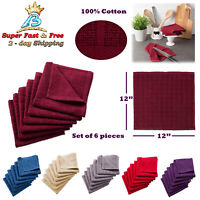 Windowpane Solid Multicolor Cotton Terry Dish Cloths Kitchen Bar Towel Set Of 6