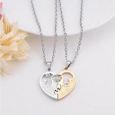 I Love You Couple Lovers Choker Double Love Heart Diamond Pendant Chain Necklace