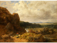 """high quality oil painting handpainted on  canvas """"landscape with girl and sheep"""""""