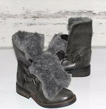STEVE MADDEN~NWOB~DISTRESSED GRAY~LEATHER *BIKER* BUCKLE~FUR ANKLE BOOTS~6~RARE